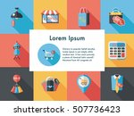 shopping and online shop icons... | Shutterstock .eps vector #507736423