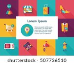 shopping and online shop icons... | Shutterstock .eps vector #507736510