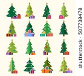 christmas tree cartoon icons... | Shutterstock .eps vector #507738478