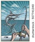 vintage deep sea fishing... | Shutterstock . vector #507741340