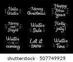 set winter hand drawn brush...   Shutterstock .eps vector #507749929