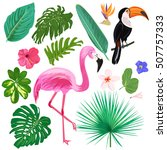 set of colorful tropic elements.... | Shutterstock .eps vector #507757333
