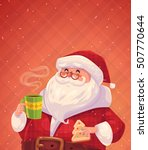 funny santa with cookie and cup ... | Shutterstock . vector #507770644