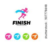 running  marathon logo design