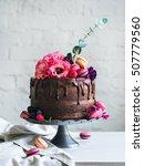 wedding cake with flowers... | Shutterstock . vector #507779560