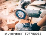 worker using grinder on... | Shutterstock . vector #507780088