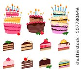colorful sweet cakes and cakes... | Shutterstock .eps vector #507780646