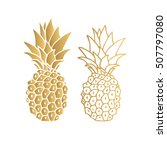 Gold Pineapple. Vector...