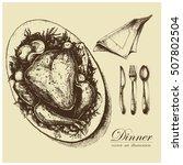 turkey or chicken dinner.... | Shutterstock .eps vector #507802504