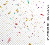 Colorful Golden Confetti. Vector Festive Illustration of Falling Shiny Confetti Isolated on Transparent Checkered Background. Holiday Decorative Tinsel Element for Design | Shutterstock vector #507803728