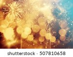 fireworks at new year and copy... | Shutterstock . vector #507810658
