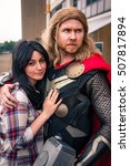 Small photo of Sheffield, UK - June 11, 2016: Cosplayers dressed as 'Thor' and 'Jane Foster' from Marvel Comics at the Yorkshire Cosplay Convention at Sheffield Arena