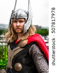 Small photo of Sheffield, UK - June 11, 2016: Male cosplayer dressed as 'Thor' from Marvel at the Yorkshire Cosplay Convention at Sheffield Arena