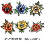 traditional tattoo roses set... | Shutterstock .eps vector #507820048