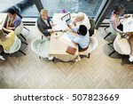 business people dining together ... | Shutterstock . vector #507823669