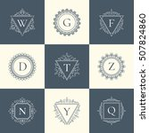 vintage luxury logo thin line...   Shutterstock .eps vector #507824860