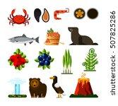 set of kamchatka peninsula ... | Shutterstock .eps vector #507825286