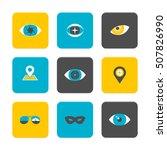 vector flat icons set   eyes... | Shutterstock .eps vector #507826990