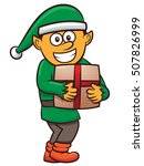 christmas elf with present... | Shutterstock .eps vector #507826999