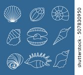 Sea Shell Outline Icons On Blu...