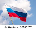Russian Flag On A Background...
