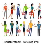 set of customers and sellers... | Shutterstock . vector #507835198