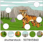 cartoon saber toothed tiger on... | Shutterstock .eps vector #507845860