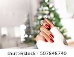 diamond ring on a finger under... | Shutterstock . vector #507848740