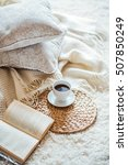 cup of coffee with book on sofa ... | Shutterstock . vector #507850249