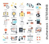 Vector set of business and finance flat web icons. Illustration graphic design concepts. Modern flat icon style. Symbols for mobile and web graphics. Logo creative concepts | Shutterstock vector #507854848
