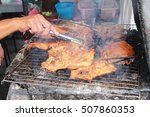 grilling spiced chicken with... | Shutterstock . vector #507860353