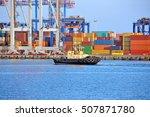 tugboat and crane in harbor... | Shutterstock . vector #507871780