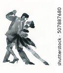 tango dance .watercolor... | Shutterstock . vector #507887680
