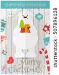 christmas card   polar bear... | Shutterstock .eps vector #507896128