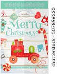 christmas card   red retro car... | Shutterstock .eps vector #507896230