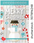 christmas card   snowman and... | Shutterstock .eps vector #507896248