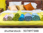 the brightly colored fabric... | Shutterstock . vector #507897388