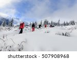 team of hikers walking on the... | Shutterstock . vector #507908968
