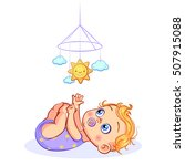 baby boy with a pacifier in... | Shutterstock .eps vector #507915088