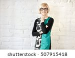old fashioned woman standing... | Shutterstock . vector #507915418