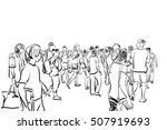 crowd walking illustration | Shutterstock . vector #507919693