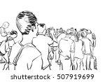 crowd walking illustration | Shutterstock . vector #507919699