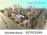 sketch cityscape of yangon ...   Shutterstock .eps vector #507925390