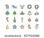 christmas icon set. thin line...   Shutterstock .eps vector #507932080