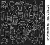 drinks and beverges chalkboard... | Shutterstock . vector #507938128