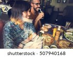 friends eating pizza party... | Shutterstock . vector #507940168