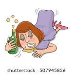 drunk woman lie down sleeping ... | Shutterstock .eps vector #507945826