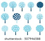 simple winter trees in blue and ... | Shutterstock .eps vector #507946588