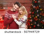 young happy couple dreams on... | Shutterstock . vector #507949729