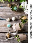 Small photo of Decor colorful Easter quail eggs with spring cherry flowers amd moss in small garden pots over dark wooden background. Rustic style. Top view with copy space.